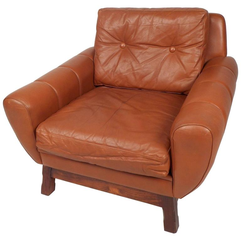 Mid century modern danish leather lounge chair for sale at for Modern leather club chair