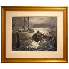 "Watercolor Painting ""Moonpath #3, Schooner Islander"" by John Whorf"