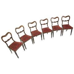 Six Antique Regency Dining Chairs with Carved Backs and Liftout Seats