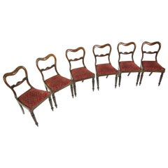 Six Antique Dining Chairs, Carved Backs, Regency, Liftout Seats, B607