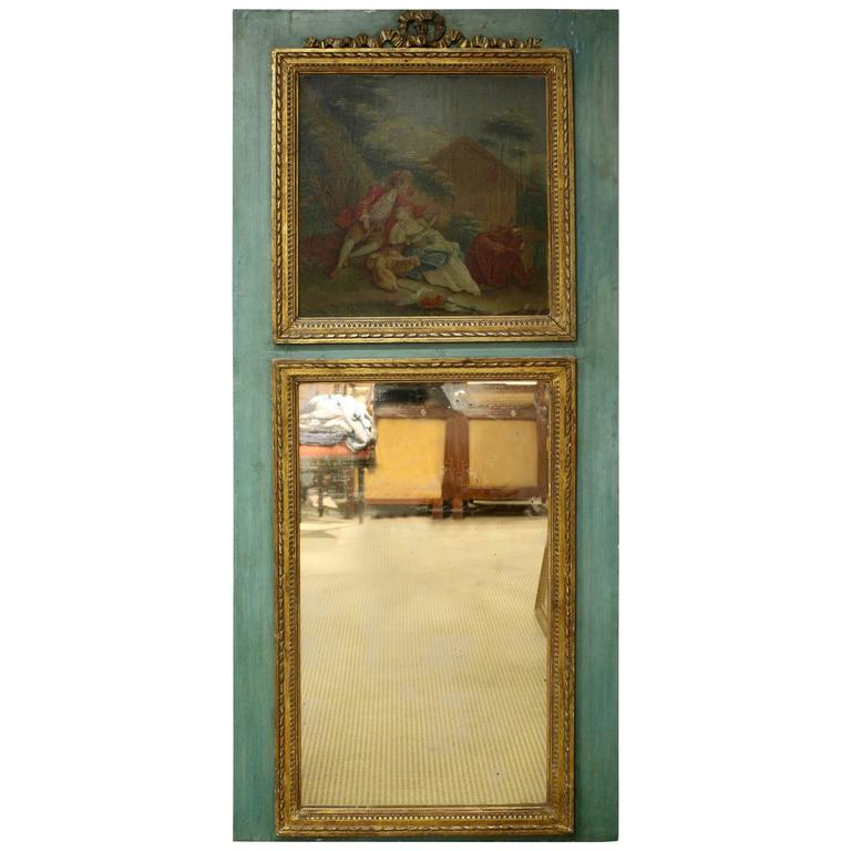 French Louis XVI Style Painted and Carved Trumeau Mirror with Trysting Lovers
