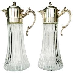 Pair of Vintage Italian Silver Plate and Cut Glass Claret Pithchers