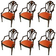 Set of Six Modern English Shield-Back Chairs with Flower Motif