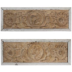 Fantastic Pair of Terracotta Plaques with Light Wooden Frames