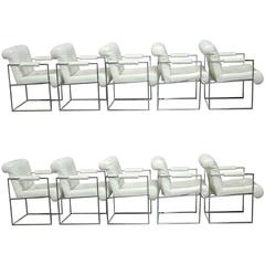 Set of Ten Chrome Thin-Line Armchairs by Milo Baughman for Thayer Coggin