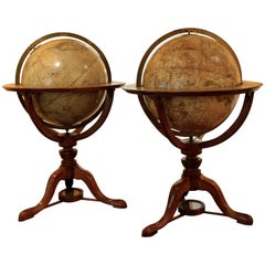 Pair of Mahogany Globes by Cary of London with Meridian Rings and Zodiac Scales