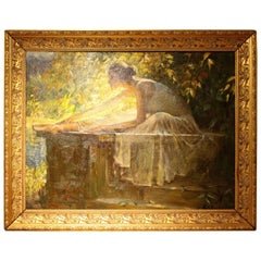 """Beautiful Oil on Canvas """"Stretching"""" Signed Tu Zhiwei and Inscribed OPA"""