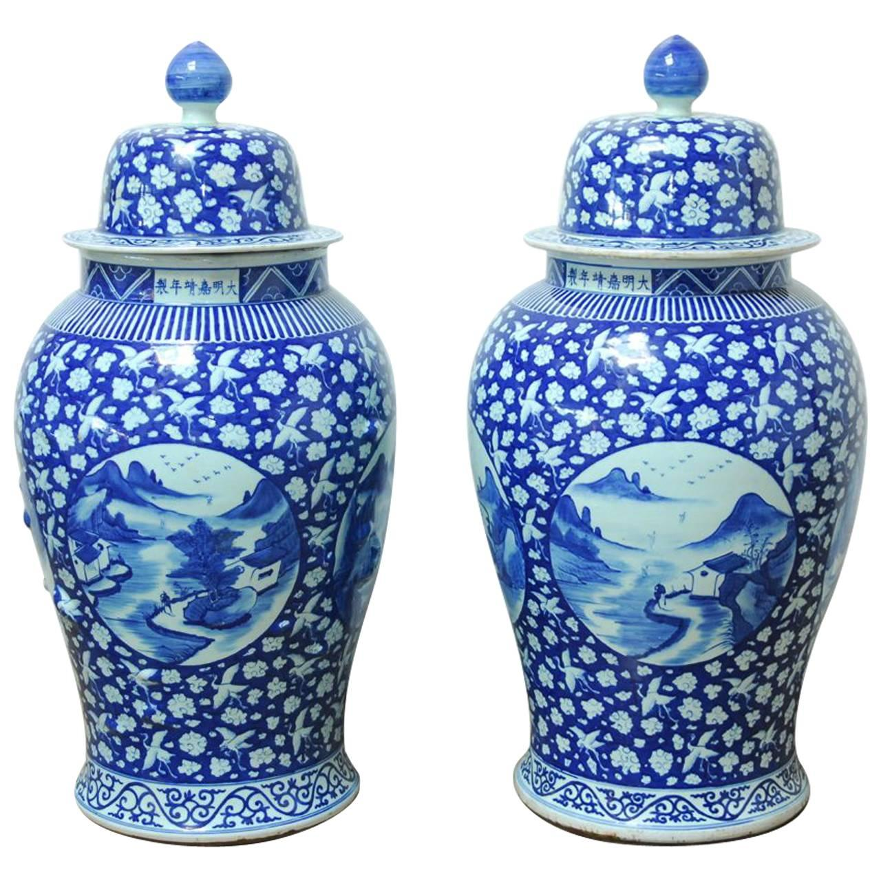 Monumental Pair of Chinese Blue and White Temple Ginger Jar Vases