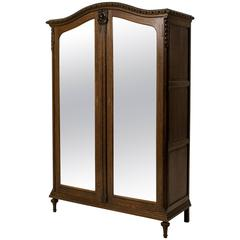 Stunning French Art Nouveau Wardrobe with Original Beveled Glass Doors