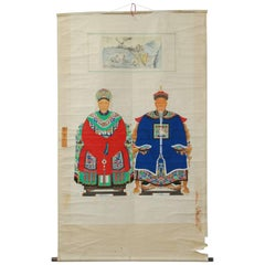 Chinese Patriarch and Matriarch Ancestral Scroll Painting