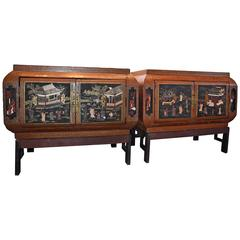 Rare Pair of Chinese Cabinets with Jade and Stone Figural Decoration