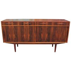 Striking Rosewood Danish Sliding Door Modern Sideboard Credenza