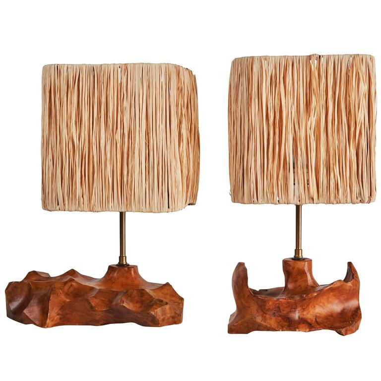 pair of french sculpted wood table lamps for sale at 1stdibs. Black Bedroom Furniture Sets. Home Design Ideas