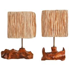 Pair of French Sculpted Wood Table Lamps