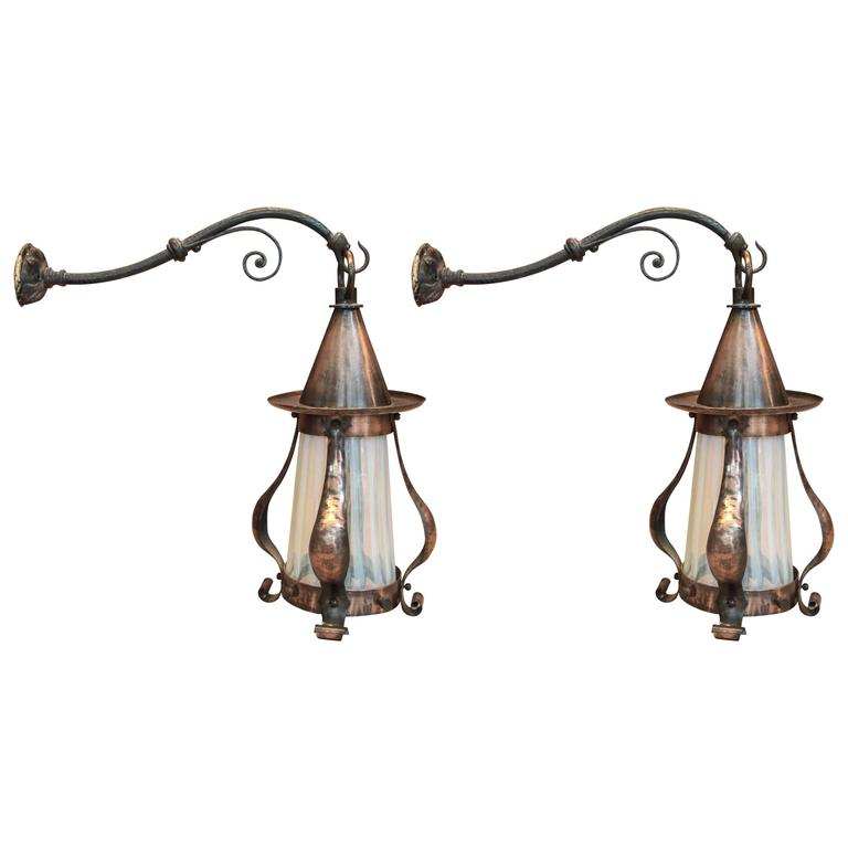 Arts and Crafts Hammered Sconces, Pair For Sale