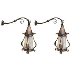 Arts and Crafts Hammered Sconces, Pair