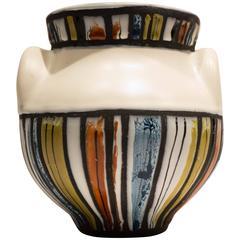 "Roger Capron ""Oreilles"" Vase with Polychrome Decoration"