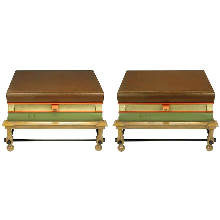 Pair of Rare John Dickinson Stacked Books End Tables For Sale