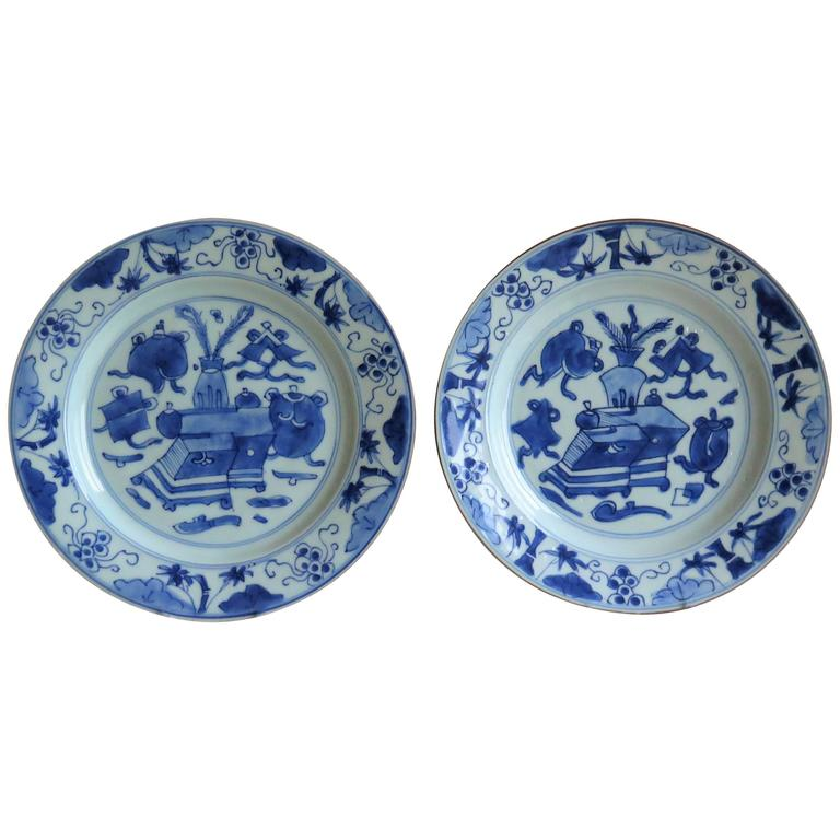 Pair of Chinese Porcelain Plates Blue and White, 18th Century Qing Circa 1735