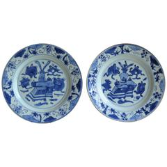 Fine Pair of Chinese Porcelain Plates Blue and White, 18th Century Qing Ca 1735