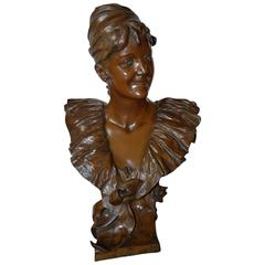 Large Art Nouveau Bronze Lady Bust Sculpture by Georges Van der Straeten, Paris