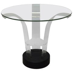 Modernage Lucite with Glass Top Art Deco Side Table