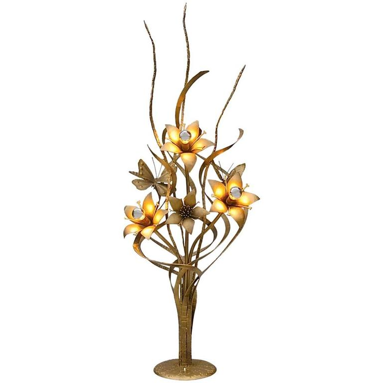 Unique gold coloured metal floral floor lamp late 20th for Gold flower floor lamp