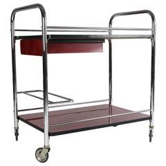 20th Century Art Deco Steel Tube Bar Cart Trolley