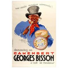 Original Vintage Food Poster Advertising Georges Bisson Camembert Cheese, France