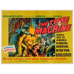 Original Vintage Science Fiction Movie Poster for the Time Machine by H.G. Wells