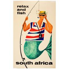 Original Vintage Travel Advertising Poster, Relax and Fish South Africa