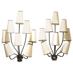 Pair of Jean Royère Eight Stem Painted Wrought Iron Wall Sconces Lamps