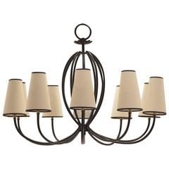 "Jean Royère ""Mille Pattes Style"" Painted Wrought Iron Chandelier"