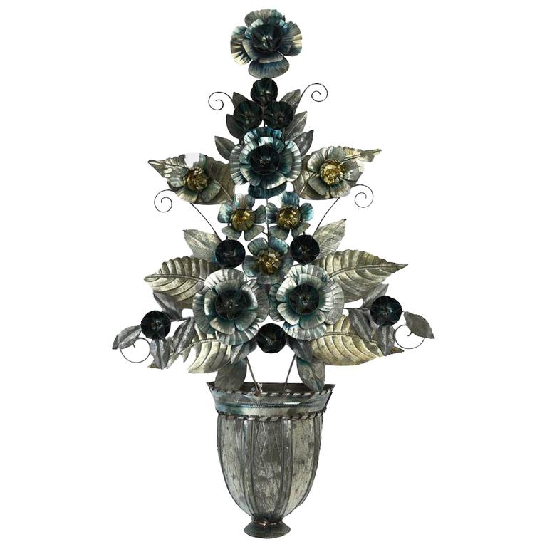 Mexican Hanging Tin Floral Decorative Urn For Sale at 1stdibs
