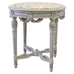 Antique French Louis XVI Style Painted Tea Side Table with Marble
