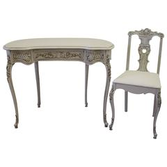 Vintage Painted French Louis XV Style Vanity with Vanity Chair