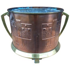 Arts & Crafts Copper & Brass Jardiniere or Plant Holder with Geometrical Decor