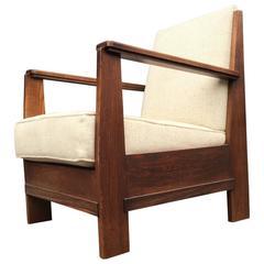 Rare Dutch Art Deco Haagse School Oak & Macassar Lounge Chair by LOV Oosterbeek