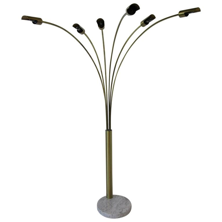 Italian Brushed Brass And Marble Arc Floor Lamp In The