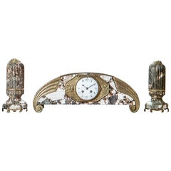 French Art Deco Marble with Bronze Details Clock Set