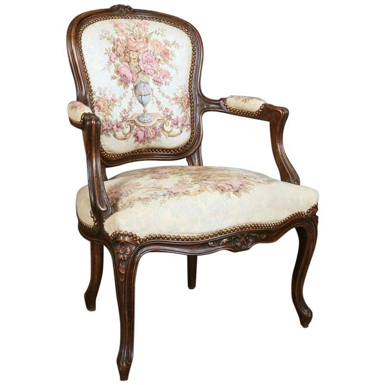 18th century carved french beech wood louis xiv fauteuil with floral tapestry for sale at 1stdibs. Black Bedroom Furniture Sets. Home Design Ideas