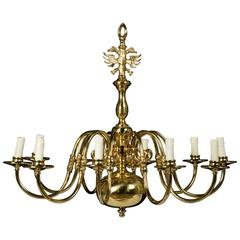 Vintage Large Dutch Baroque Brass Ten-Arm Chandelier