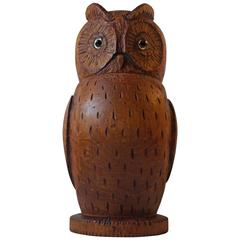 Unusual Hand-Carved Owl Tea Caddy German Volk Art, circa 1900, Signed Rebild
