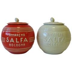 Italian Modern Art Deco Pottery Jars