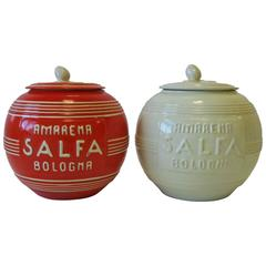 Pair Italian Modern Art Deco Pottery Jars