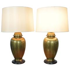 Pair of Brass Urn Form Lamps