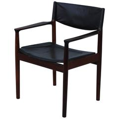 Arne Vodder Rosewood and Leather Desk Chair