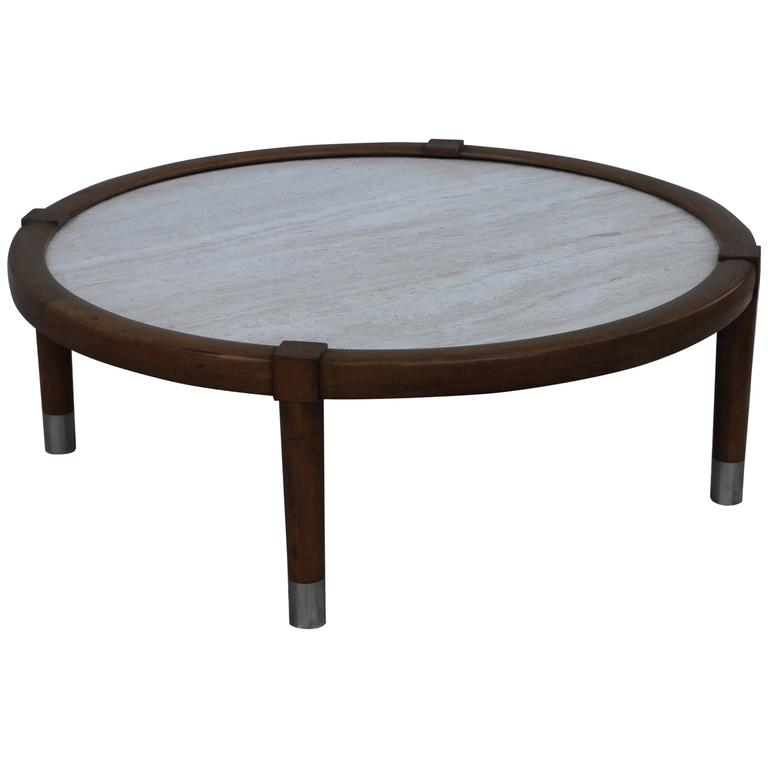 Edward Wormley Style Travertine Top Coffee Table