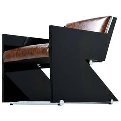 Italian Modern Leather Black Lacquer and Chrome Z Chair