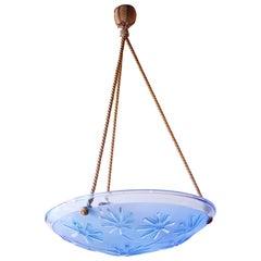 French Art Deco Blue Glass Pendant Fixture